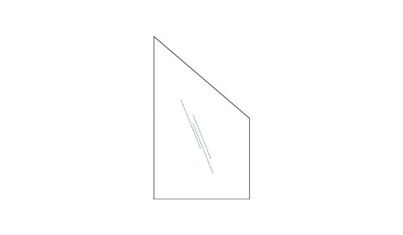 Abschlusselement, 8mm, 103 x 174 auf 87 cm, Klarglas