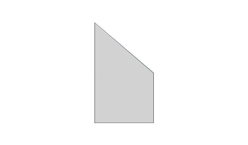 Abschlusselement, 8mm, 103 x 174 auf 87 cm, Satinato