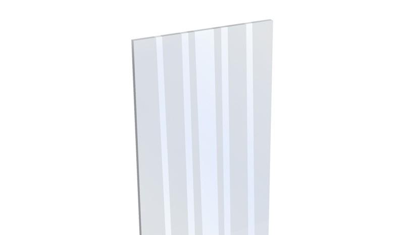 Aluzaun Glaseinsatz mit satinierten Dekorstreifen - ESG Sicherheitsglas - 180 x 15 x 0,4 cm