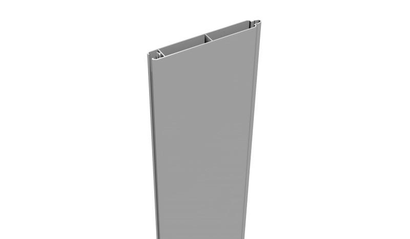 Unsere Alu Lamelle in der Farbe Silbergrau. Das Maß ist 180 x 15 x 2 cm. Für einen 180 cm hohen Zaun benötigen Sie 12 Einzellamellen.