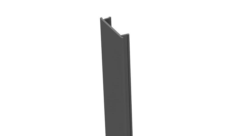 Unsere Alu Pfostenleiste zum Verdecken der Nuten am Pfosten. Die Länge beträgt 100 cm. Die Farbe ist Anthrazitgrau. Das Material Kunststoff.