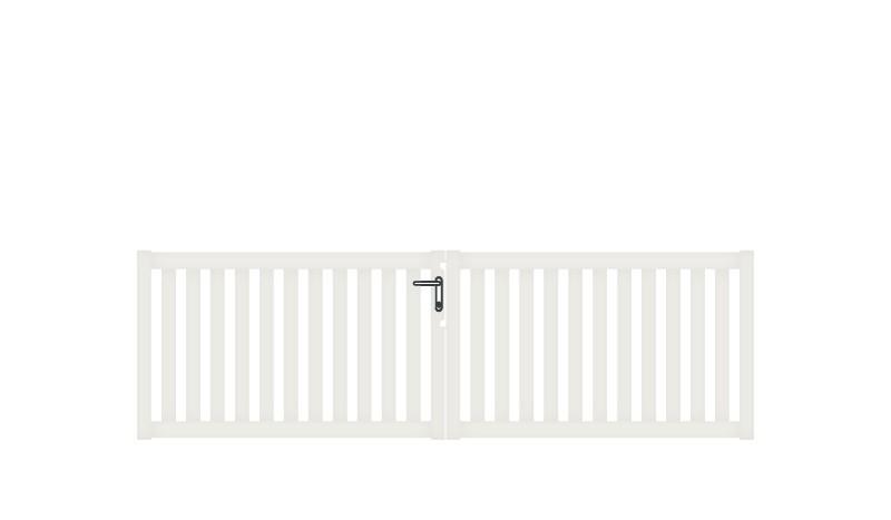 Wetterfestes Doppeltor aus Aluminium, 300 x 90 cm, DIN-R, weiß, inkl. Torbänder, Schließblech, mittiger Torfeststeller, Arretierungen für Torflügel, Schloss mit Profilzylinder und Edelstahl-Drückergarnitur