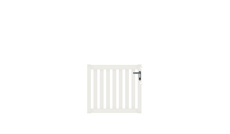 Pflegeleichtes Einzeltor aus Aluminium, 100 x 90 cm, DIN-R, weiß (RAL 9016), inkl. Torbänder, Schließblech, Schloss mit Profilzylinder und Edelstahl-Drückergarnitur