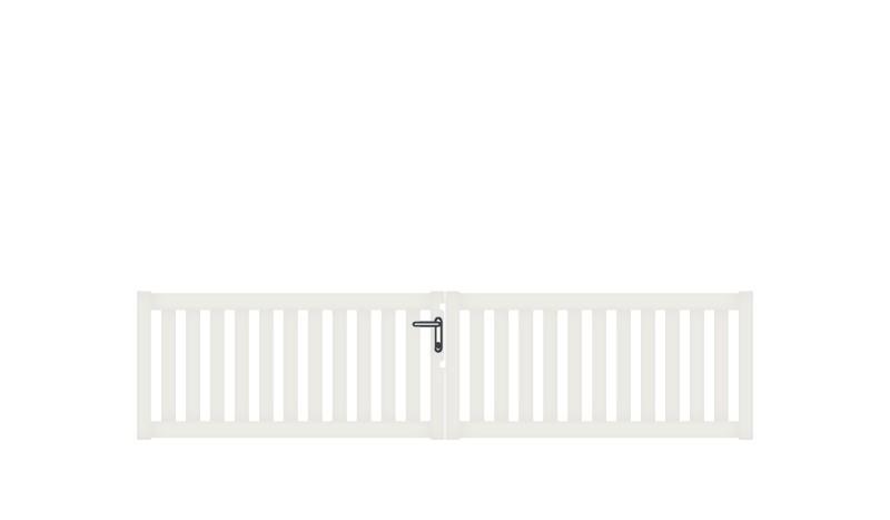 Pflegeleichtes Doppeltor aus Aluminium, 300 x 70 cm, DIN-R, weiß, inkl. Torbänder, Schließblech, mittiger Torfeststeller, Arretierungen für Torflügel, Schloss mit Profilzylinder und Edelstahl-Drückergarnitur