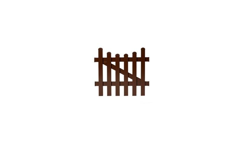 Die Gartenpforte Aubing mit einem Maße von 96,2 x 80 auf 70 cm, bestehend aus braunem Aluminium, Tür 1-flg mit Unterbogen.