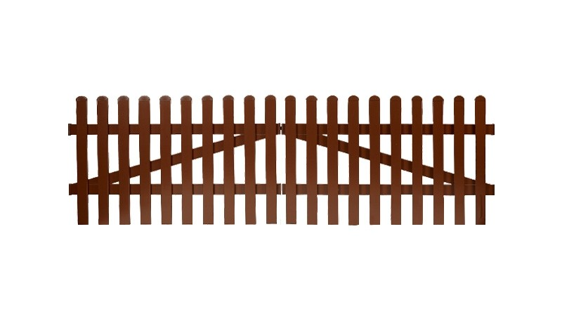 Aluminium Gartenzäune Aubing. Doppeltor mit einem Maß von: 300 x 100 cm. Farbe: Braun, mit einem geradem Verlauf.