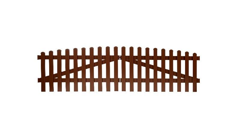 Aluminium Gartenzäune Aubing mit einem Maß von: 300 x 70 auf 80 cm. Mit einem Oberbogenverlauf. Farbe: Braun.
