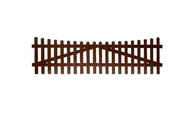 Aluminium Gartenzäune Aubing mit einem Maß von: 300 x 80 auf 70 cm. Mit einem Unterbogenverlauf. Farbe: Braun.