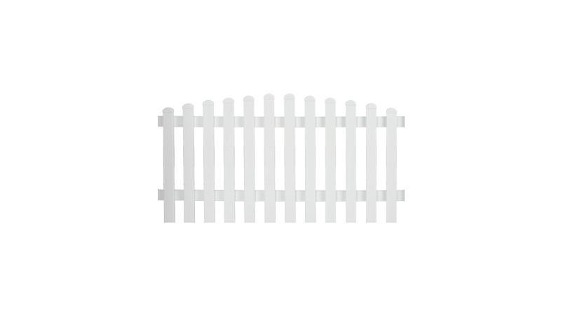 Aluminiumgartenzäune Neuhausen. Mit einem Maße von 185 x 90 auf 100 cm. Farbe: Weiß, mit einem Oberbogen.