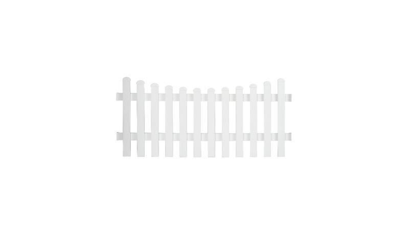 Aluminiumgartenzäune Neuhausen mit dem Maße: 185 x 80 auf 70 cm. Mit einem Unterbogenverlauf. Farbe: Weiß.