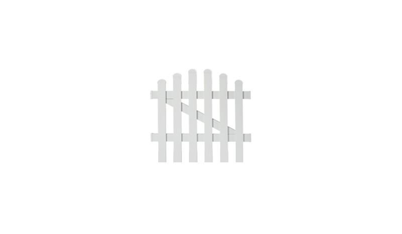 Aluminiumgartenzäune Neuhausen. Einzeltor mit einem Maß von 96,2 x 90 auf 100 cm. Farbe: Weiß, mit einem Oberbogen.