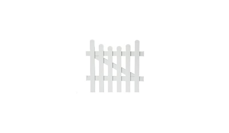 Aluminiumgartenzäune Neuhausen. Einzeltor mit einem Maß von 96,2 x 100 auf 90 cm. Farbe: Weiß, mit einem Unterbogen.