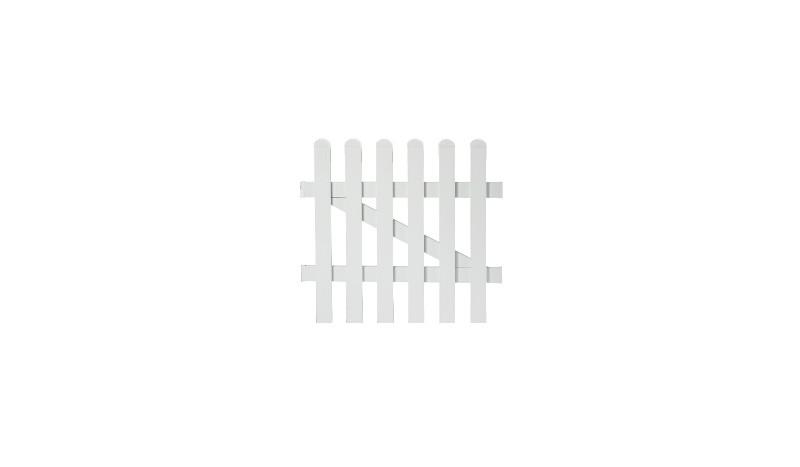 Aluminiumgartenzäune Neuhausen. Einzeltor mit einem Maß von 96,2 x 100. Farbe: Weiß, gerader Verlauf.