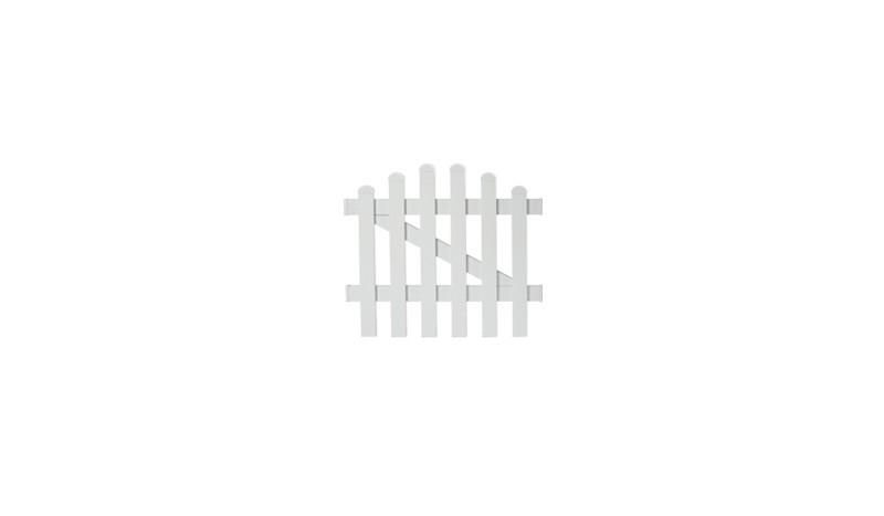 Die Zaunpforte Neuhausen mit einem Maße von 96,2 x 70 auf 80 cm, bestehend aus weiß pulverbeschichteten Aluminium, Tür 1-flg mit einem Oberbogen.