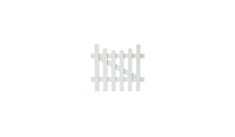 Die Zaunpforte Neuhausen mit einem Maße von 96,2 x 80 auf 70 cm, bestehend aus weiß pulverbeschichteten Aluminium, Tür 1-flg mit einem Unterbogen.