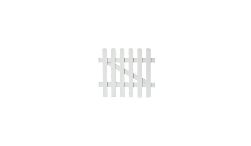Die Zaunpforte Neuhausen mit einem Maße von 96,2 x 80 cm, bestehend aus weiß pulverbeschichteten Aluminium, Tür 1-flg gerader Verlauf.
