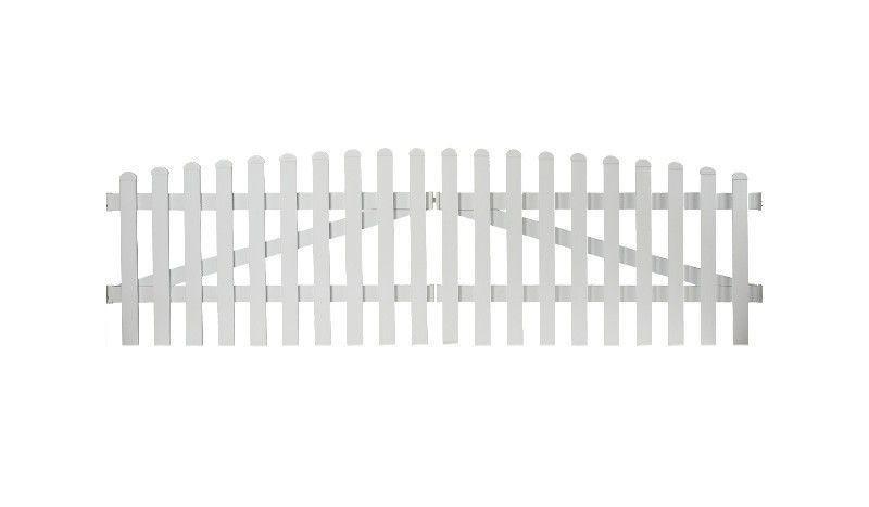 Aluminiumgartenzäune Neuhausen. Doppeltor mit einem Maß von 300 x 90 auf 100. Farbe: Weiß, mit einem Oberbogen.