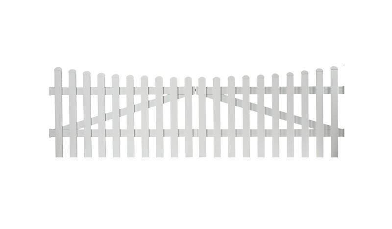 Aluminiumgartenzäune Neuhausen. Doppeltor mit einem Maß von 300 x 100 auf 90 cm. Farbe: Weiß, mit einem Unterbogen.