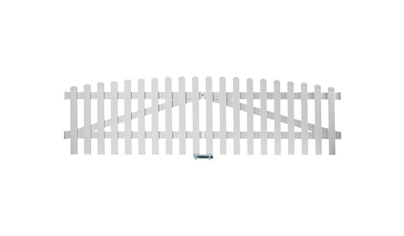 Aluminium Zauntor Neuhausen. Mit einem Maß von: 300 x 70 auf 80 cm, Farbe: Weiß
