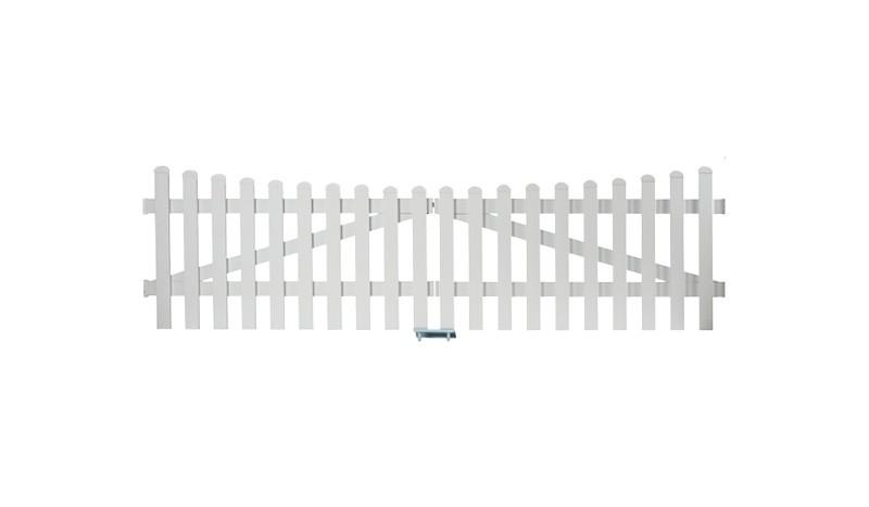 Aluminiumgartenzäune Zauntor Neuhausen. Mit einem Maß von 300 x 80 auf 70 cm. Farbe: Weiß