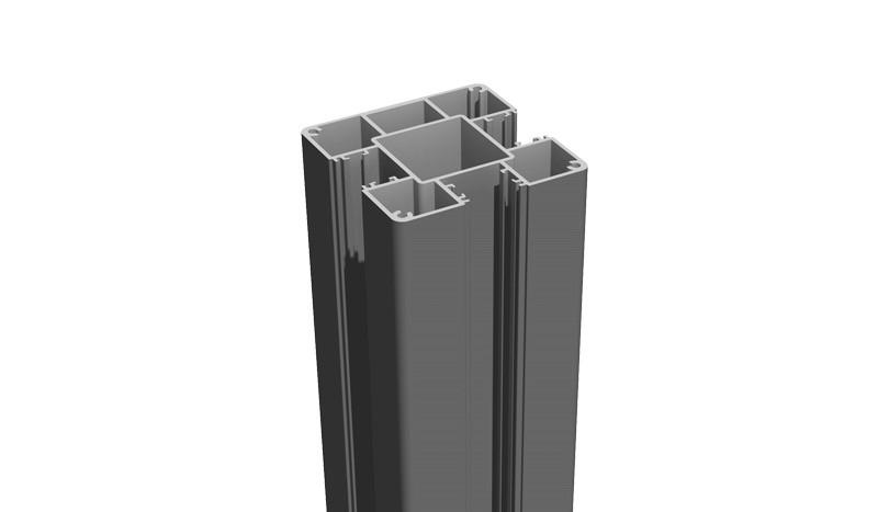 Unser Alupfosten in Anthrazitgrau. Der Alupfosten ist 240 cm lang und 3-seitig genutet. Für einen 180 cm hohen Zaun werden 12 Einzellamellen benötigt.