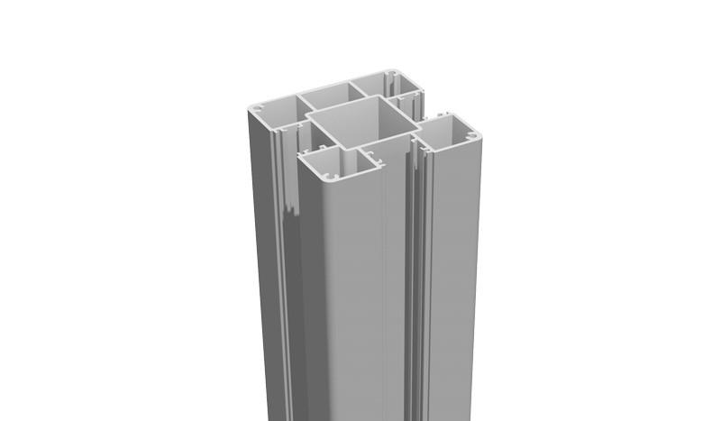 Unser Alupfosten mit dem Maß 9 x 9 x 150 cm zum Einbetonieren. Der Pfosten ist Silbergrau und 3-seitig genutet.