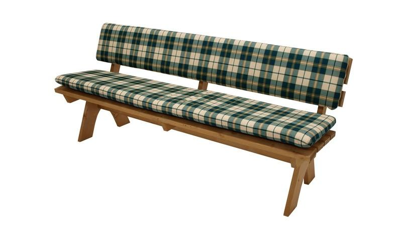 Grün-Beige karierte 4er Gartenbank Auflagenset Bristol mit waschbaren Bezügen aus 100 % Baumwolle. 200 x 40 cm Sitzkissen, 200 x 30 cm Rückenkissen