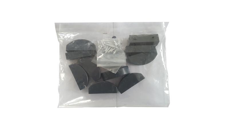 Bausatz für Gartenzäune Kunststoff Preston. Beinhaltet: Abdeckkappen für Zaunlatten und Schrauben, Montageschuhe und Schrauben.