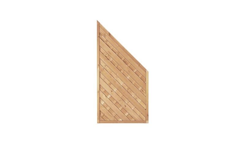 Abschluss der Berlin Diagonal Serie aus kesseldruckimprägnierter Kiefer/Fichte. Maß: 90 x 180/90 cm