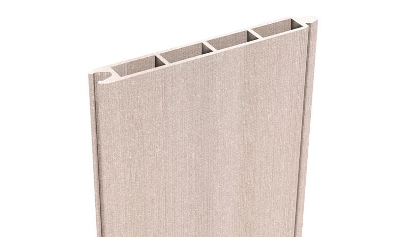 Die BPC Zaun Lamelle hat das Maß 180 x 15 x 1,9 cm. Die Farbe ist Bi-Color Weiß. Die Lamellen werden mit Nut und Feder verbunden.