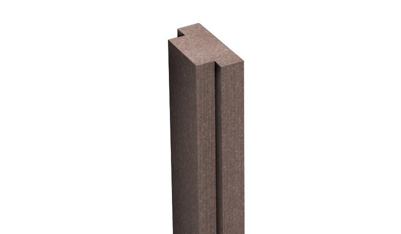 Unsere Pfostenleiste BPC in der Farbe Terra hat das Maß 2,9 x 1,5 x 190 cm. Die Pfostenleiste verdeckt die nicht genutzten Nuten am Pfosten.