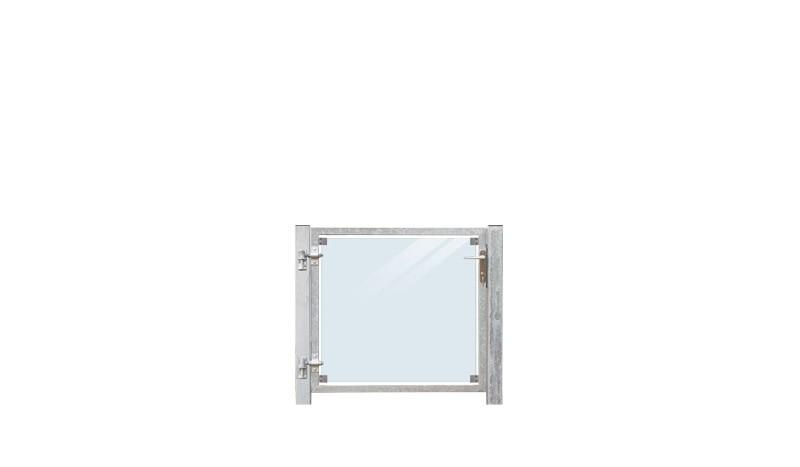 Die Gartenpforte mit 8,76 mm VSG Klarglasfüllung hat die Drückergarnitur rechts. Einzeltor mit 2 mm starken, verzinkten Stahlrahmen, inkl. 80 x 80 mm Pfosten (zum Einbetonieren), das Gesamtmaß beträgt 116 x 90 cm, Lieferung inkl. Bänder, Profilzylinder