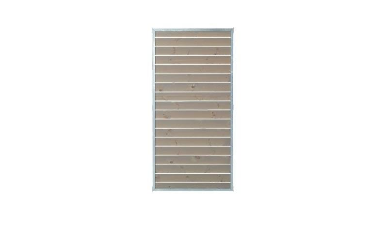 Der Cubic Zaun in den Maßen 90 x 180 cm (B x H) hat graubraune 25 x 90 mm Füllbretter, die mit 1 cm Abstand am Rahmen befestigt sind