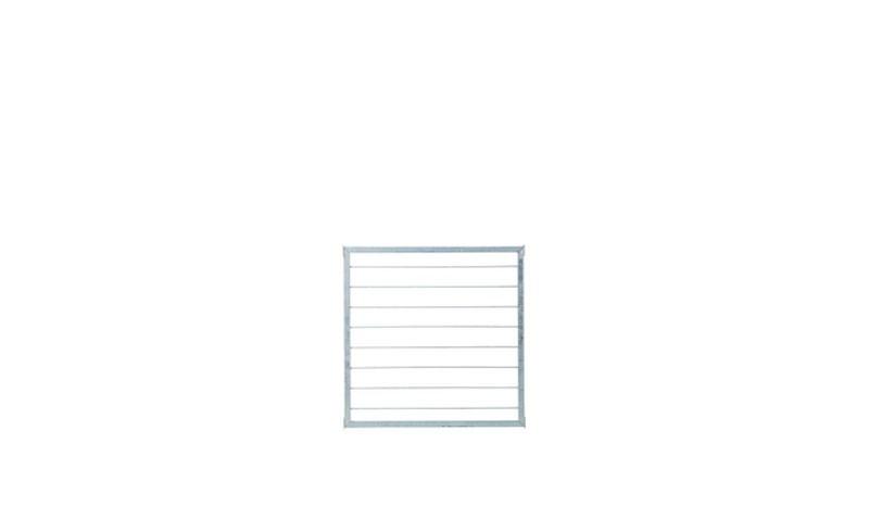 Das Design Spalier Cubic hat einen 30 x 30 x 2 mm Rahmen aus verzinktem Stahl und ein Maß von 90 x 90 cm (B x H),  die Stahlspaliere der Rankgitter-Füllung haben 7 mm Durchmesser.