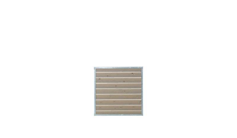 90 x 90 cm Zaunelement der Cuvic Serie mit 30 x 30 mmm verzinktem Rahmen und druckimprägnierter und in der Farbe Graubbraun doppelt grundierter Holzfüllung.