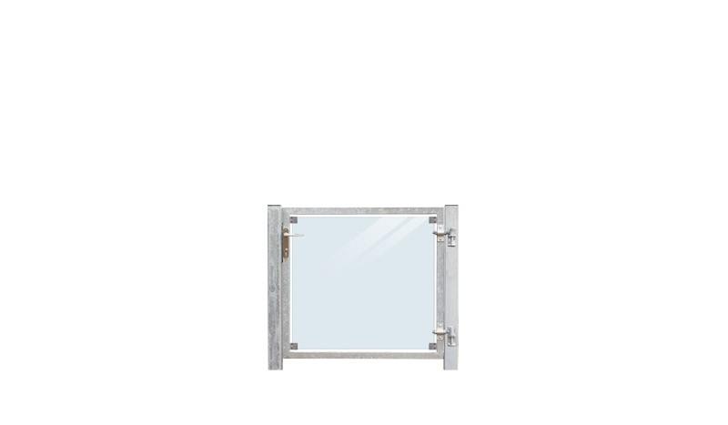 Die 8,76 mm VSG Klarglas Gartenpforte mit Drückergarnitur auf der linken Seite, hat einen 2 mm starkem verzinkten Rahmen, Gesamtmaß inkl. zwei 80 mm Stahlpfosten (zum Einbetonieren) von 116 x 90 cm, Lieferung inkl. Beschläge, Drückergarnitur, Profilzylind