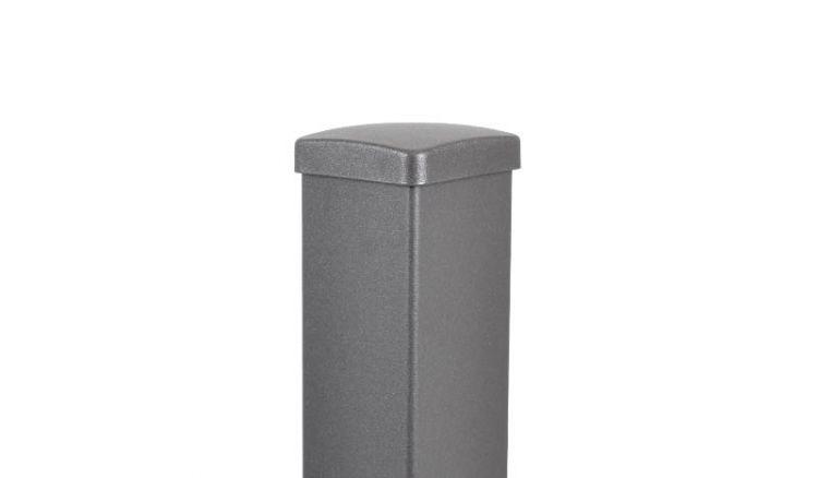Die Aluminiumpfosten in Anthrazit mit Eisenglimmer Effekt: Die Pfosten mit Innenfuß eignen sich für die Montage von Gartenzäunen, die mit 50 cm Verlängerung für Sichtschutzzäune