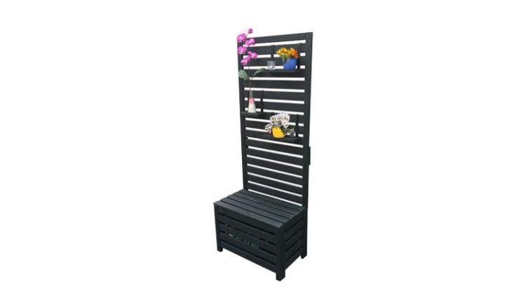 Das anthrazitfarbene 70 x 40 x 180 cm Balkonspalier aus druckimprägnierter Kiefer kombiniert Staukasten, Sichtschutz und Sitzgelegenheit