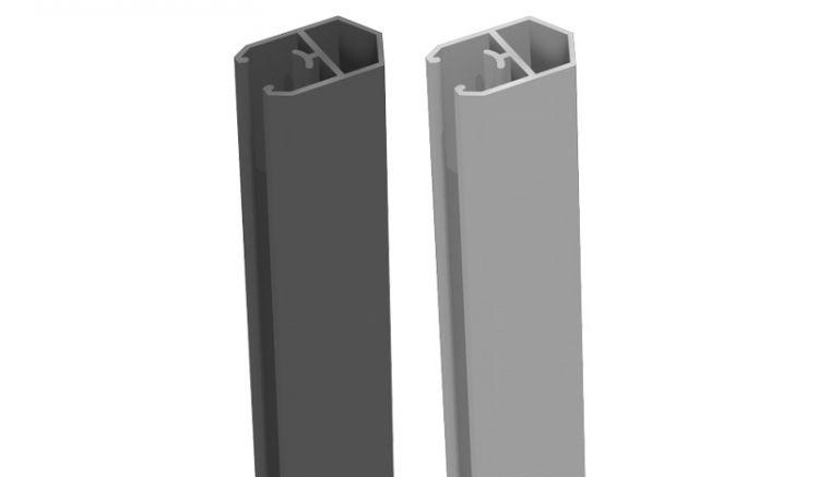Alu Abschlussprofil in den Farben Silbergrau und Anthrazitgrau - in Pyramidenform - 180 cm lang
