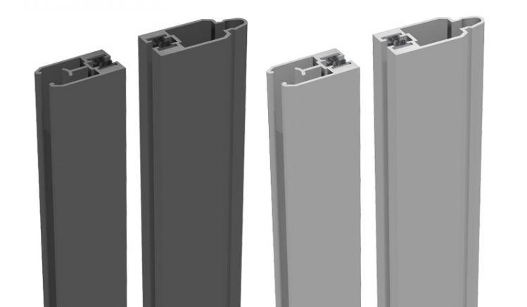 Alu Adapterleiste zur Montage von Glas oder Lochblechelementen - 180 cm lang - 2 teilig - mit Bürstendichtung