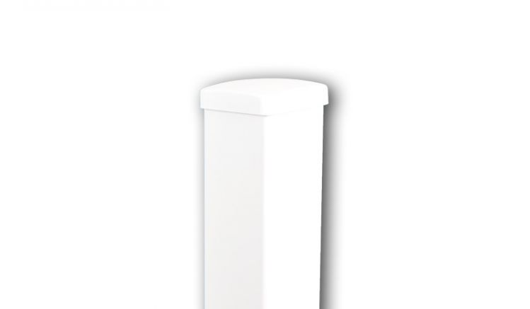 Der weiße Aluminiumpfosten in RAL 9016 mit den Maßen 80 x 80 x 800 / 990 / 1490 / 1850 mm, Pfosten mit Längenzugabe sind für die Montage von Sichtschutzzäunen geeignet