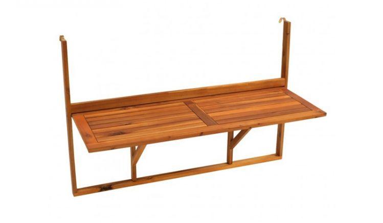 Der Balkon Tisch Gera zum Hängen aus Akazienhartholz hat ein Maß von ca. 120 x 44,5 x 80 cm und findet auch auf dem kleinsten Balkon Platz.