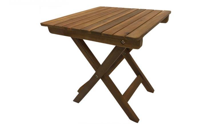 Klappbarer und robuster Balkontisch aus geöltem, witterungsbeständigem Akazienholz mit einer Größe von 38 x 38 x 40 cm, der sich ideal als Beistelltisch eignet.