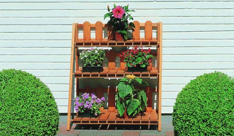 """Unser Blumenregal """"Baran"""" aus Kiefernholz mit drei Stufen, 78 x 42 x 90 cm"""