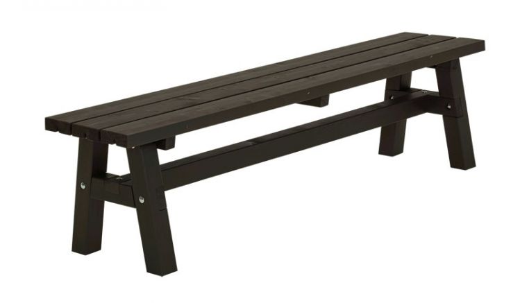 Schwarz farbgrundierte 177 x 37 x 46 cm Country Gartenbank aus massiven Holz-Elementen