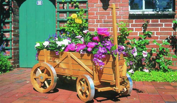 """Unser Garten Bollerwagen """"Orscha"""" aus massivem Kiefernholz, 104 x 49 x 51, Farbe: Braun"""