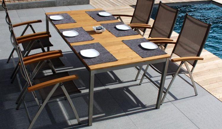 Gartenmöbel Toronto II aus Edelstahl - mit Edelstahl Hochlehner Toronto II und Gartentisch St. Catharines II