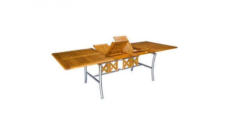 Der Edelstahl Gartentisch Victoria in der ausziebahren Variation mit einem Maß von 100 x 180/250 cm
