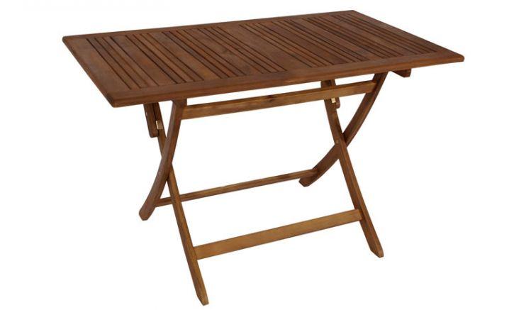 Gartentisch aus Akazienholz -120 x 70 cm- ausgeklappt.