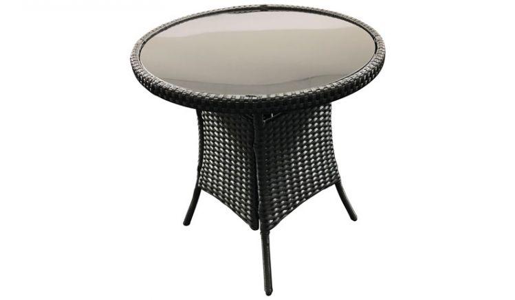 Der Gartentisch mit schwarzer Rattan - Bespannungpasst mit einem Durchmesser von ca. 60cm auch auf größere Balkons.
